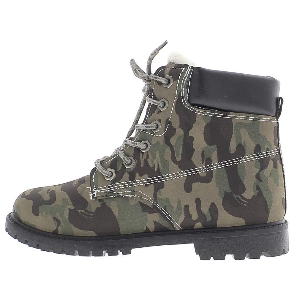 Botines llenadas Miran Verde Camuflaje Militar de Tacones de 3 cm y Cordones: Amazon.es: Zapatos y complementos