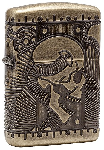 - Zippo Steampunk Armor Antique Brass Pocket Lighter