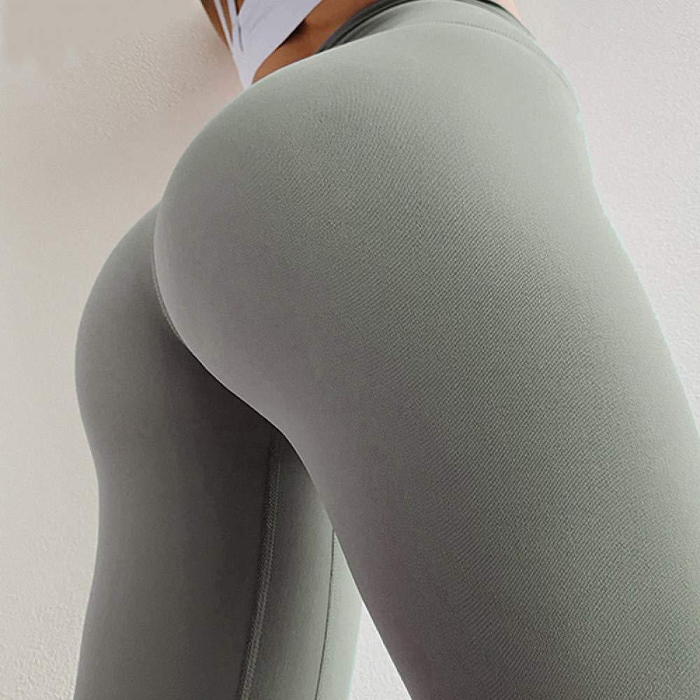 YUYOGAP Einfarbige Yogahosen Hohe Elastische Turnhallen-Sportgamaschen Hohe Taille Push-Up-Fitness Lauftraining Jogginghose