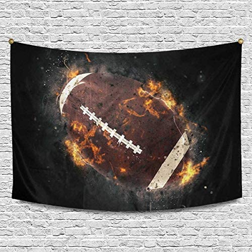 INTERESTPRINT Cool Sports American Football Ball in Fire Cotton Linen Tapestry Wall Art Home Decor, Tapestries Wall Hanging Art Sets, 90W X 60L Inch