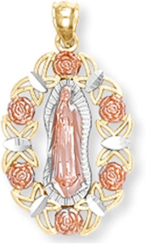 14K Tri-Color Gold Our Lady of Guadalupe Pendant