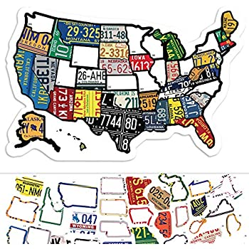 US States Map Travel Tracker Sticker Set | United States Adventure Decals |  RV Motorhome Camper or Trailer Accessories | LARGE 22 x 13 in| Road Trip ...