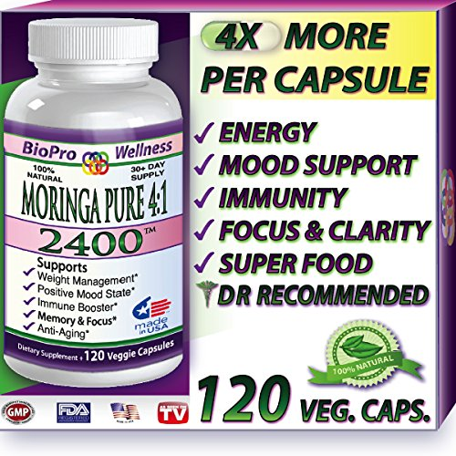 Pure Moringa Oleifera 2400mg Daily 1 Focus Brain Mood Memory SuperFood Plus Immune Defense Booster - Healthy Brain Anti Aging Whole Super Foods Diet Supplements for Seniors Adults Teens & Children Organic Tree Leaf Powder Pills 120 Vegetarian Cap...