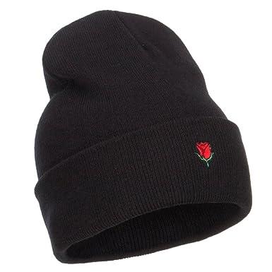 Amazon.com  E4hats Mini Rose Embroidered Long Beanie - Black OSFM  Clothing f03936f6df35