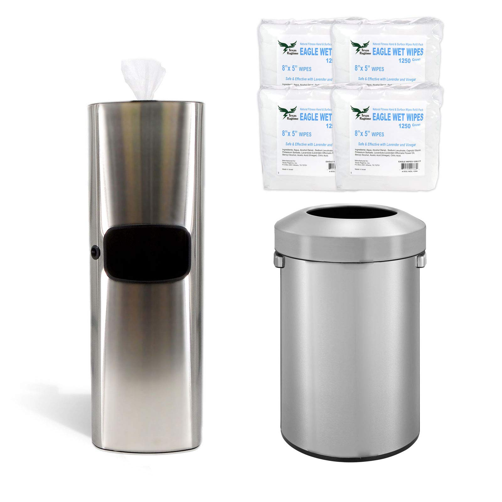 Stainless Steel Gym Wipe Dispenser Bundle with 4 Rolls 1250 Count/Roll Gym Wipe and 16 Gal/60L Open Top Trashcan by TEXAS RAGTIME