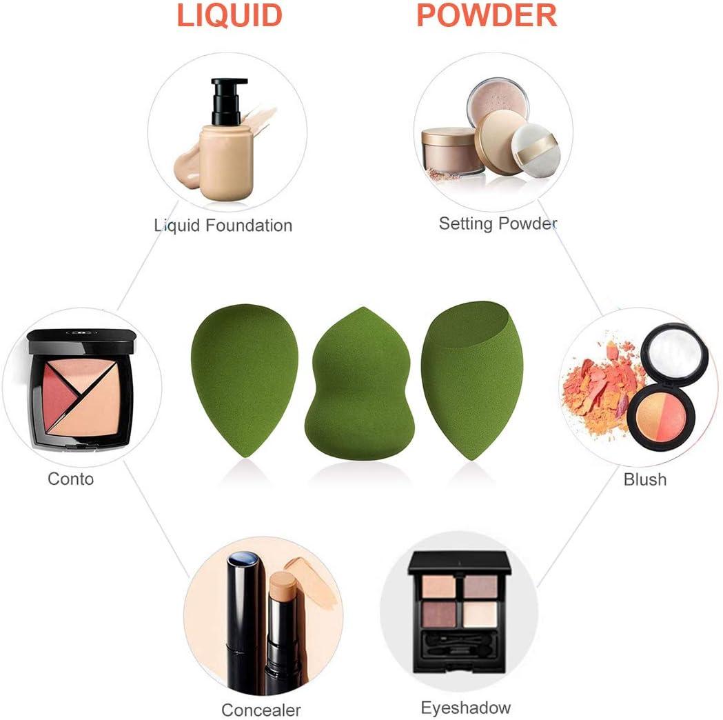 Esponjas de maquillaje Set de 3, Microfiber Sponge,de Ruesious sin látex, Makeup Esponjas para corrector, Crema, Colorete, Liquid Base De Maquillaje. (Verde): Amazon.es: Belleza
