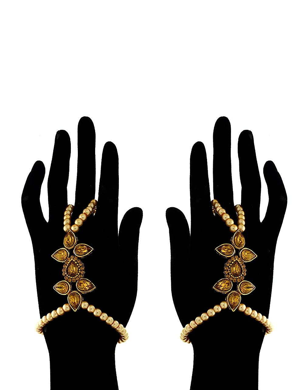Anuradha Art Golden Finish Very Classy Royal Look Finger Ring Attached Bracelet Hath Phool for Women//Girls