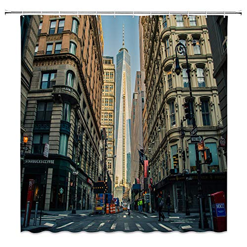 AMNYSF Manhattan World Trade Center New York USA Decor Shower Curtain Beautiful Cityscape Tall Buildings,70x70 Inch Waterproof Polyester Fabric Bathroom Accessories Curtains with Hooks