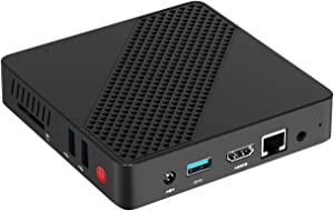 Mini PC Fanless Intel Celeron N3350 Processor (Up to 2.4GHz) 4GB DDR4/ 64GB eMMC Mini Desktop Computer 2.4G+5.8G Dual WiFi HDMI+VGA BT4.2 3X USB3.0 Supports Ubuntu& Linux Auto Power On