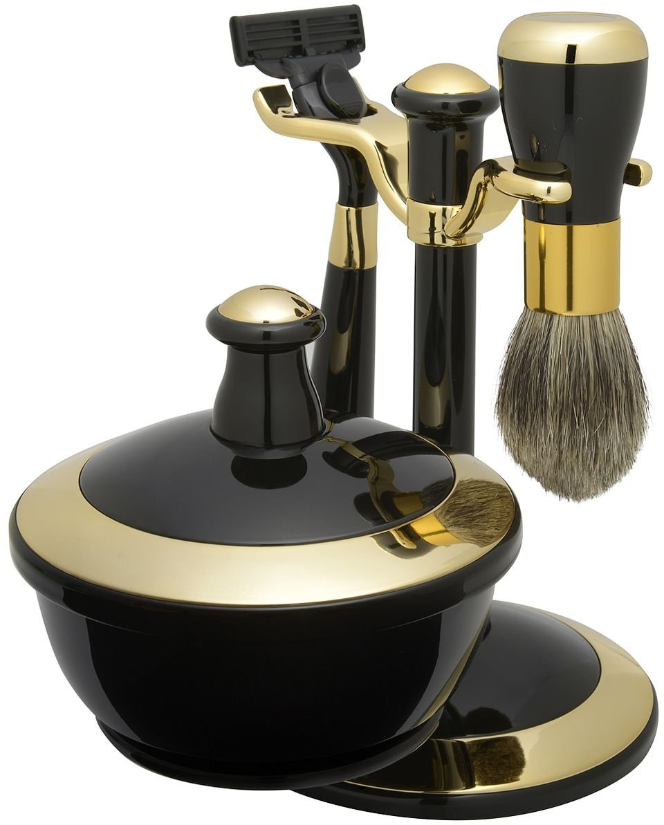 Shaving Gift Set with Badger Brush, Stand, Soap Bowl, Bowl Cover, Mirror and Mach 3 Razor Handle. Black and Gold Trim Finish, Great Fathers Day or Christmas Gift. Lily' s Home SW210