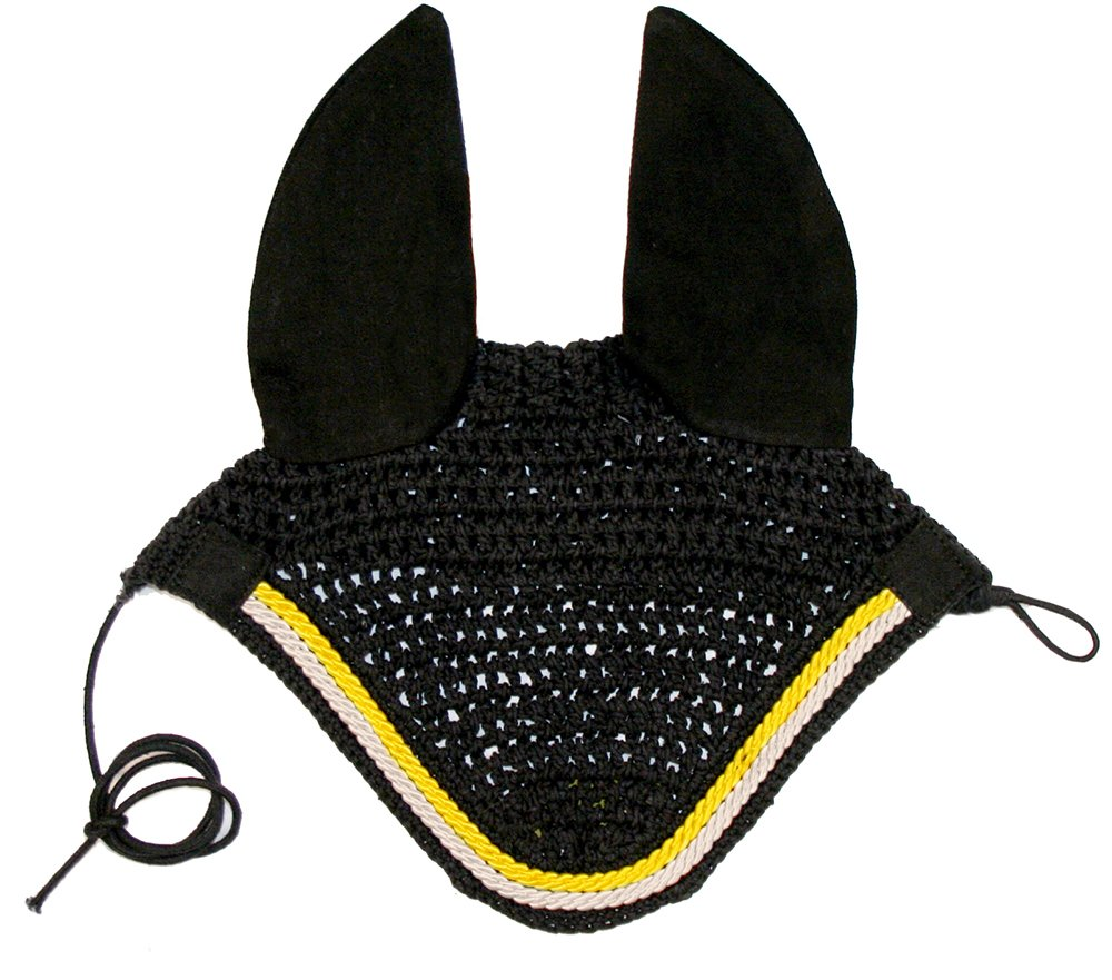 Derby Originals Paris Tack Show Crochet Fly Veils/Ear Nets, Black, Full