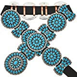 Petit Point Cluster Turquoise Concho Belt Traditional Navajo Pattern