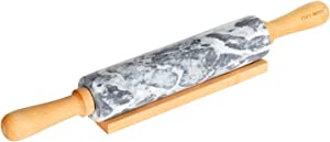 CHEFMADE 18-Inch Marble Rolling Pin with Wooden Handles and Cradle, Non-stick (Gray and White)