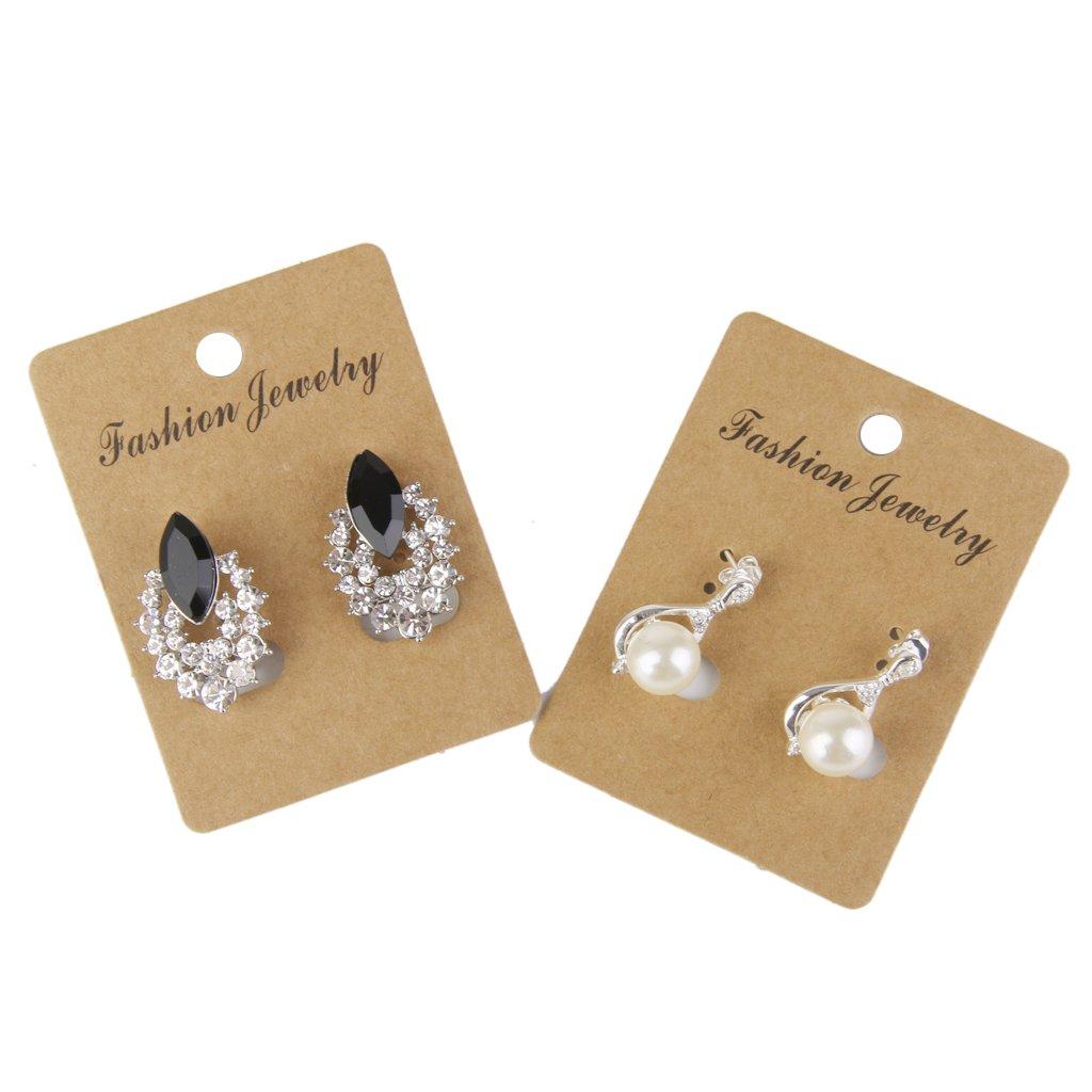 100pcs Kraft Paper Earring Jewelry Display Hang Cards 6.8cm x 5cm
