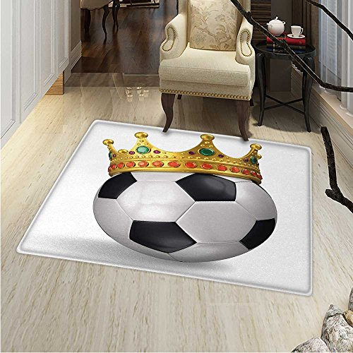 King Dining Room Home Bedroom Carpet Floor Mat Football Soccer Sports Championship Inspired Ball Crown Ornaments Image Print Non Slip Rug 5'x6' Multicolor by Anhounine
