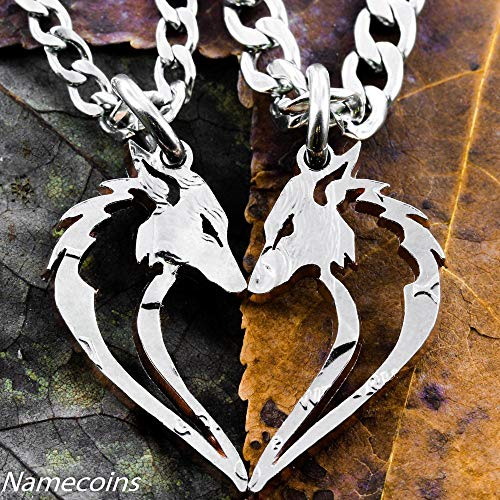 (Fox necklaces in a heart shape, Couples set, Tribal Jewelry, Hand cut coin, Half Dollar, By NameCoins)