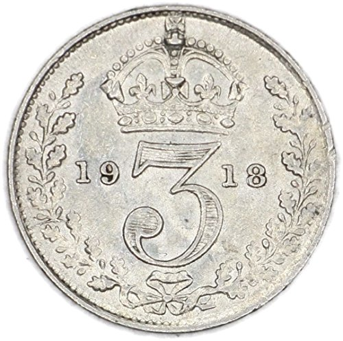 1918 UK George V British Silver Threepence Good
