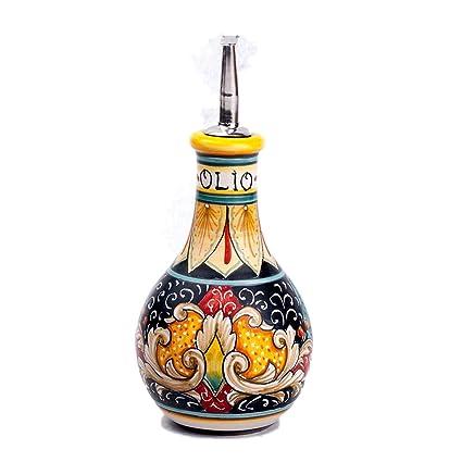 MICHELANGELO Cerámica, pintada a mano, Italia, arte y artesanía - Botella, aceite