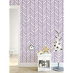 CostaCover - Self Adhesive Herringbone Removable Wallpaper with Purple Chevron Hand Drawn Arrows Wall Decal CC132