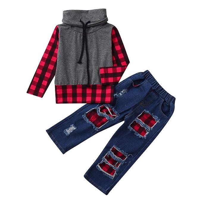 YanHoo Ropa para niños Conjunto de Ropa para niños Suéter con Paneles de Tela Escocesa de Manga Larga para niños Top + Conjunto de Pantalones de Tela ...