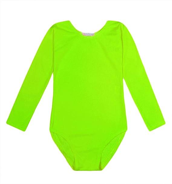 Kids Girls Gymastics Leotard Dance Childrens Long Sleeve Round Neck Bodysuit Top