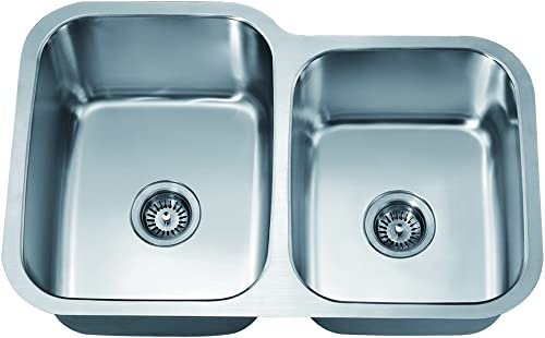 Dawn ASU108R Undermount Double Bowl Sink, Polished Satin
