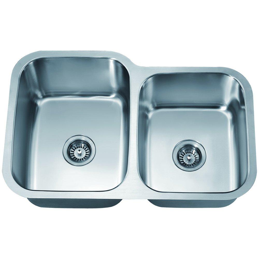 Dawn ASU108R Undermount Double Bowl Sink Polished Satin Dawn Kitchen /& Bath Products Inc.