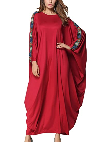 SPDYCESS Vestido Abaya para Mujer Elegante Kaftan Floral - Traje Musulmán Ropa Islámica Vestido Arabe Dubai Caftan Largo Boho Túnicas Jilbab Disfraz