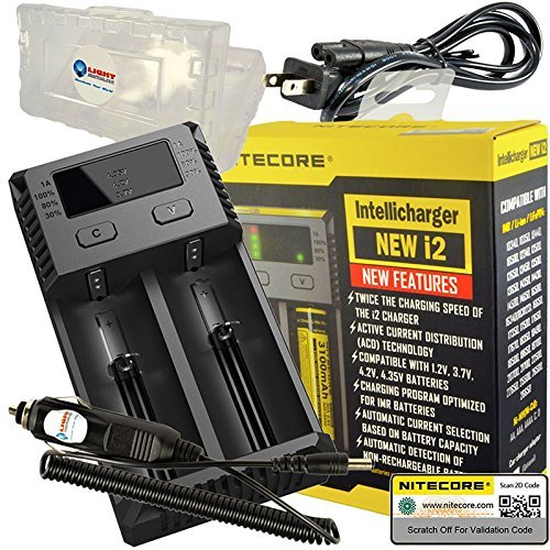 Nitecore NEW i2 2016 Intellicharger Smart Battery Charger with LightJunction 12V DC Car Adapter and 18650 Battery Case for Li-ion IMR Ni-MH NiCd