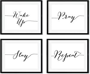 Andaz Press Modern Black and White Religious Wall Art Decor Posters, 8.5x11-inch, Wake Up Pray Slay Repeat, 4-Pack, Christmas Birthday Gift for Him Her, Unframed