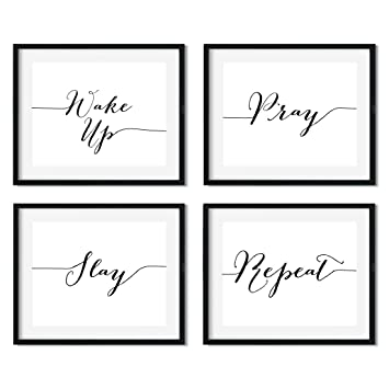 Andaz Press Modern Black And White Religious Wall Art Decor Posters 85x11 Inch