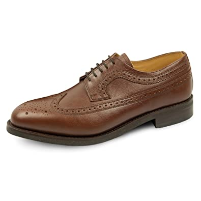 Samuel Windsor Men's Handmade Goodyear Welted Brown Country Brogue Rubber Sole Italian Leather Shoe