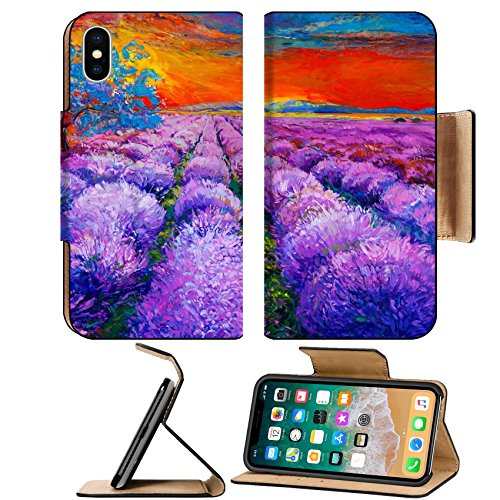 Msd Premium Apple Iphone X Flip Pu Leather Wallet Case Original Oil Painting Of Lavender Fields On Canvassunset Landscapemodern Image 24294274