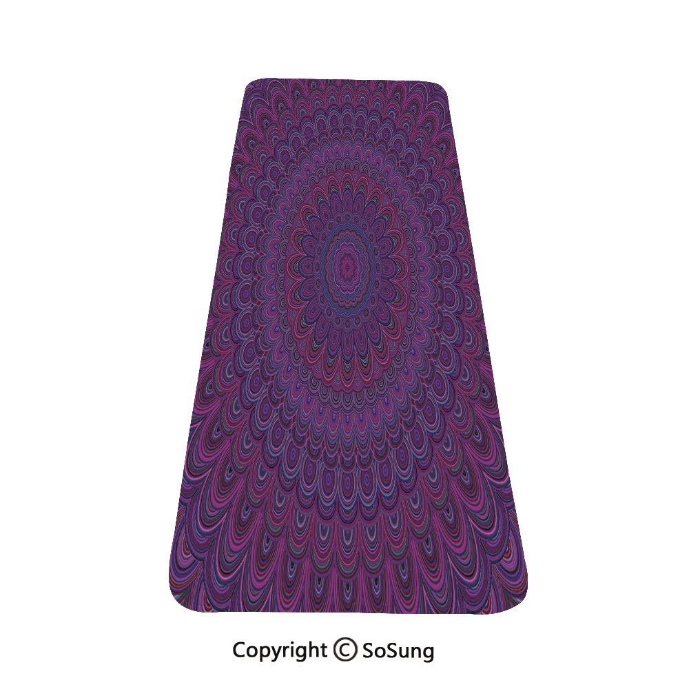 Eggplant Rug Runner,Purple Mandala Shape with a Kaleidescopic Style Sixties Inspired Oriental Abstract Art Decorative,for Living Room Bedroom Dining Room,4'x 2',Purple by SoSung
