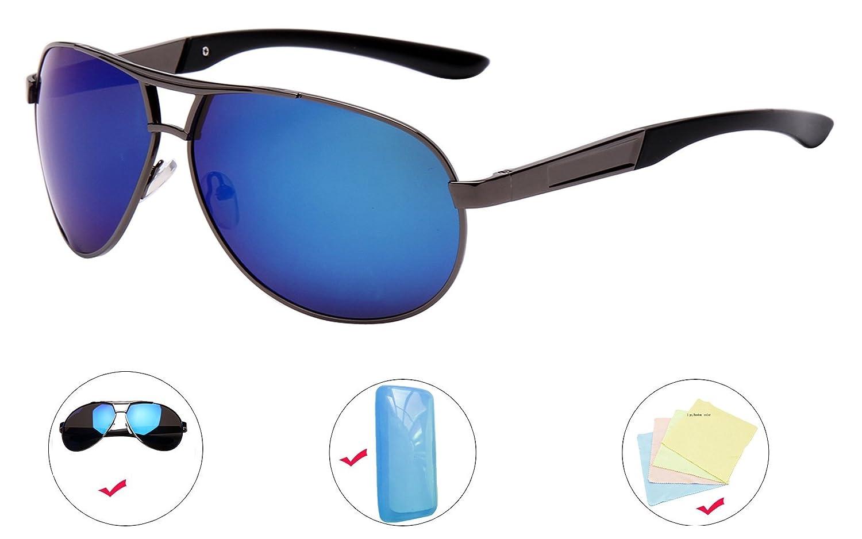 AikeSweet polarisiert Unisex Retro Flieger Sonnenbrille Reflektierende Linse