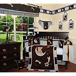 SISI Baby Boy Boutique - Blue Bear and Moon 13 PCS Crib Bedding