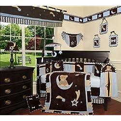 SISI Baby Boy Boutique - Blue Bear and Moon 13 PCS Crib Bedding