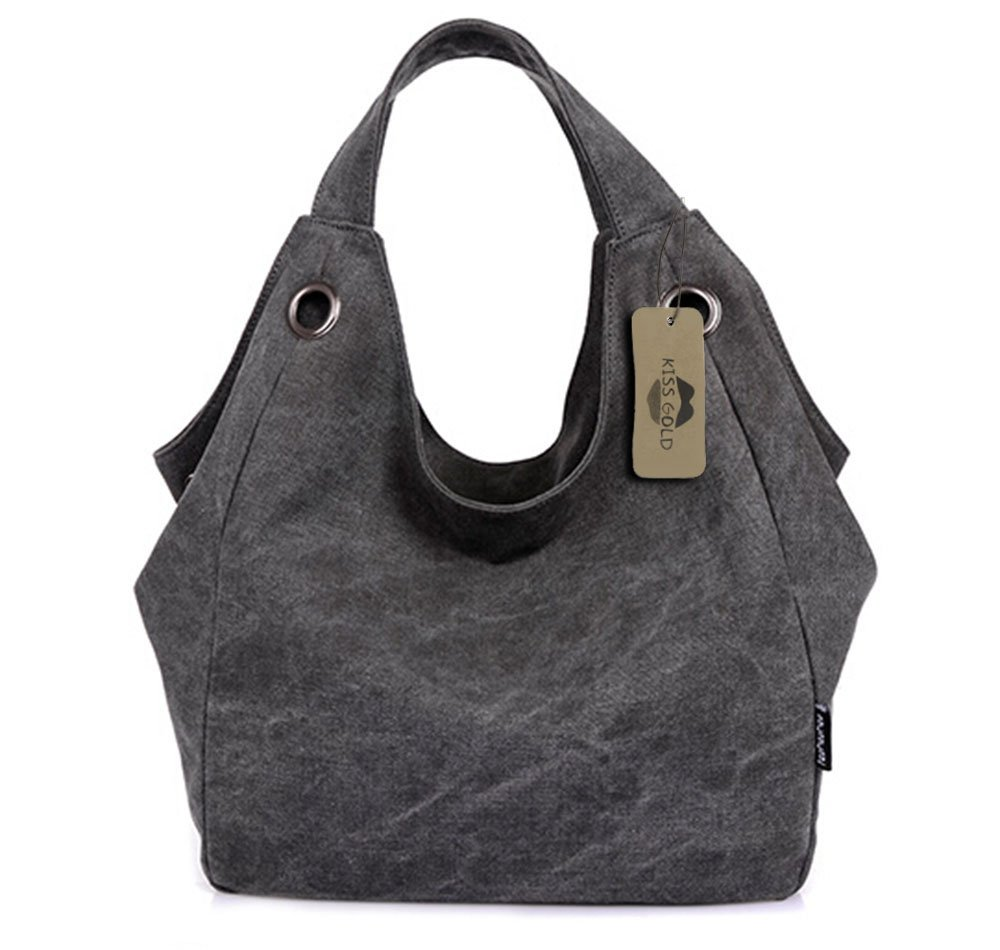 KISS GOLD(TM) Women's Simple Style Vintage Canvas Totes Hobo Bag (Grey)