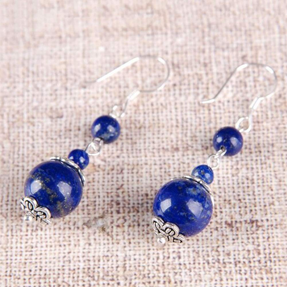 New Style Natural Egyptian Blue Lapis Lazuli Coin Beads Drop Dangle Silver Hook Earrings