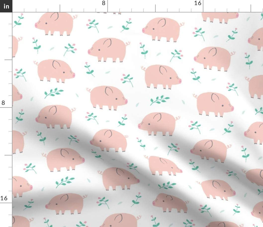 Spoonflower Fabric - Sweet Piggies Pig Cute Pink Green White Little Fox Nursery Baby Kids Printed on Petal Signature Cotton Fabric by The Yard - Sewing Quilting Apparel Crafts Decor