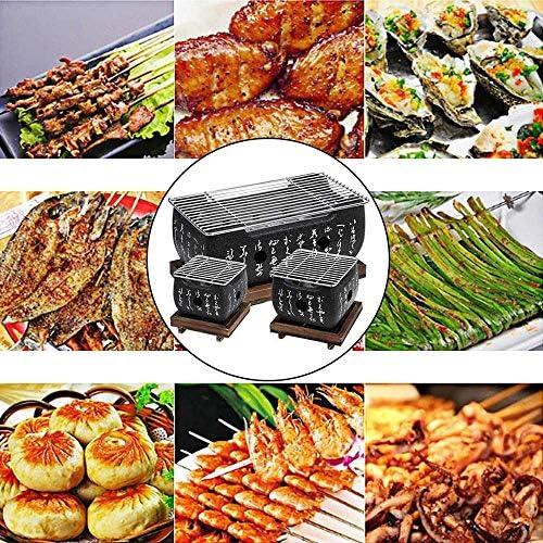 Mini Barbecue à Charbon de Bois Barbecue de Style Japonais Accueil Barbecue avec réseau en Acier Inoxydable Parfait pour intérieur extérieur, S
