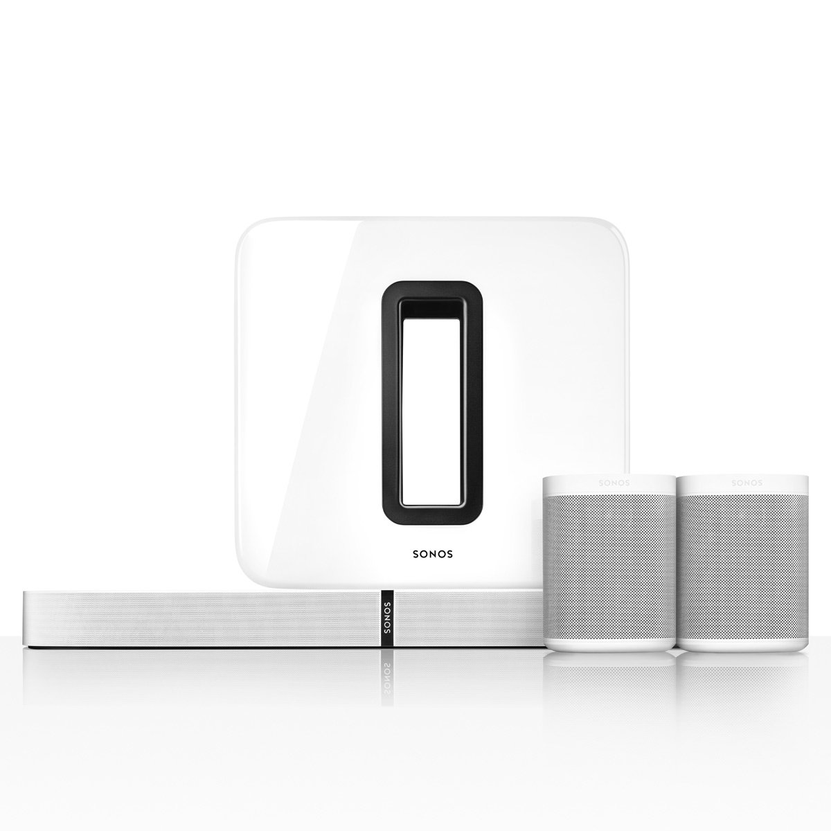 Sonos 5.1 PLAYBASE Home Theater System with Sonos ONE Streaming Speakers (Pair) and SUB Wireless Subwoofer (White)
