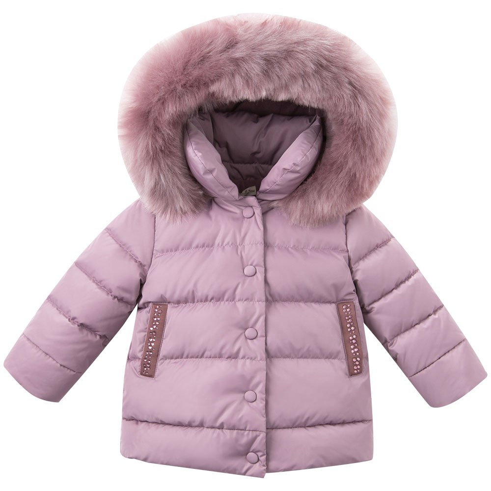 DAVE & BELLA Winter Baby Girls Down Jacket Children White Duck Down Padded Coat Kids Hooded Outerwear - Grey Pink (4T)