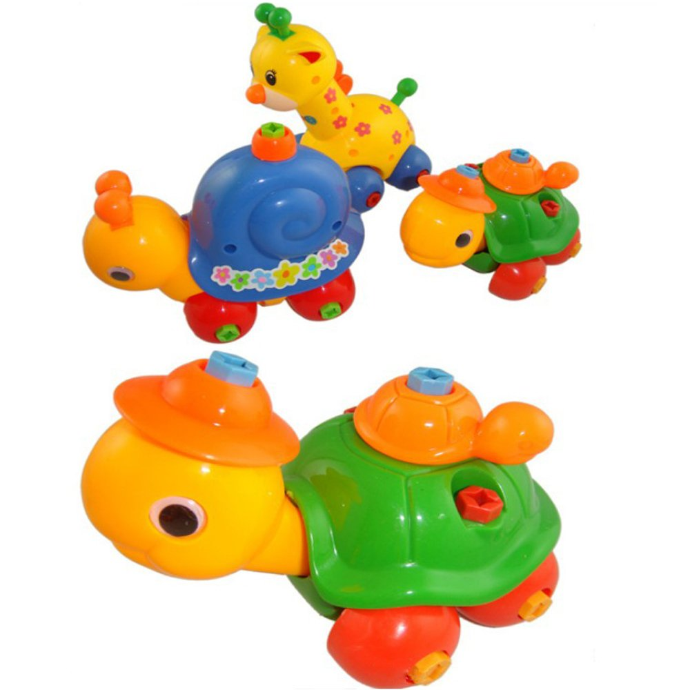 4 Pack Removable Animals Disassembly Toy Giraffe Bunny Turtle Snail Plastic Funny Toys Best Xmas Gifts for Children Various coffled