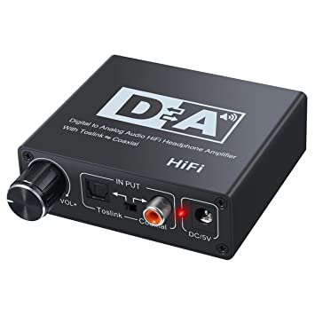 Convertidor Audio Digital Analógico, Easy-Link 192KHz DAC Conversor Control Volumen Digital SPDIF Óptical