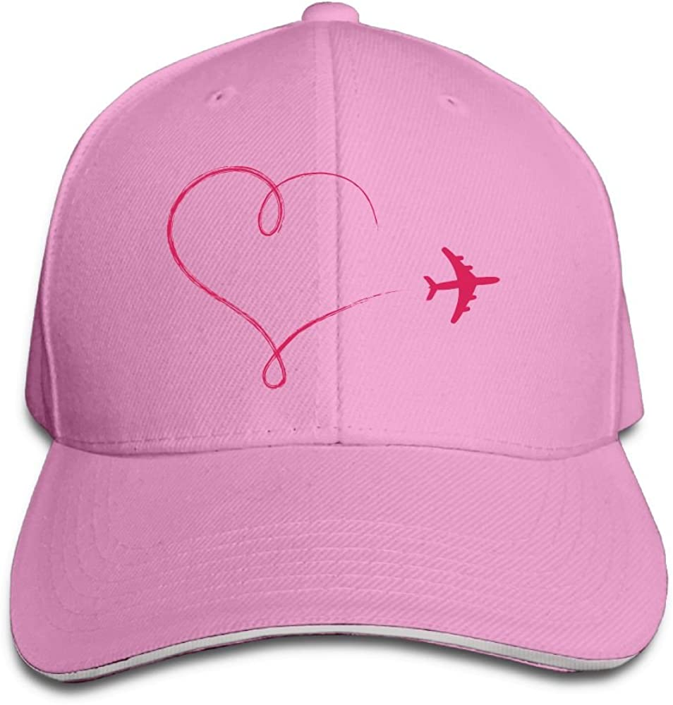 Teesofun Unisex Sandwich Peaked Cap Air Plane Heart Shaped Adjustable Cotton Baseball Caps