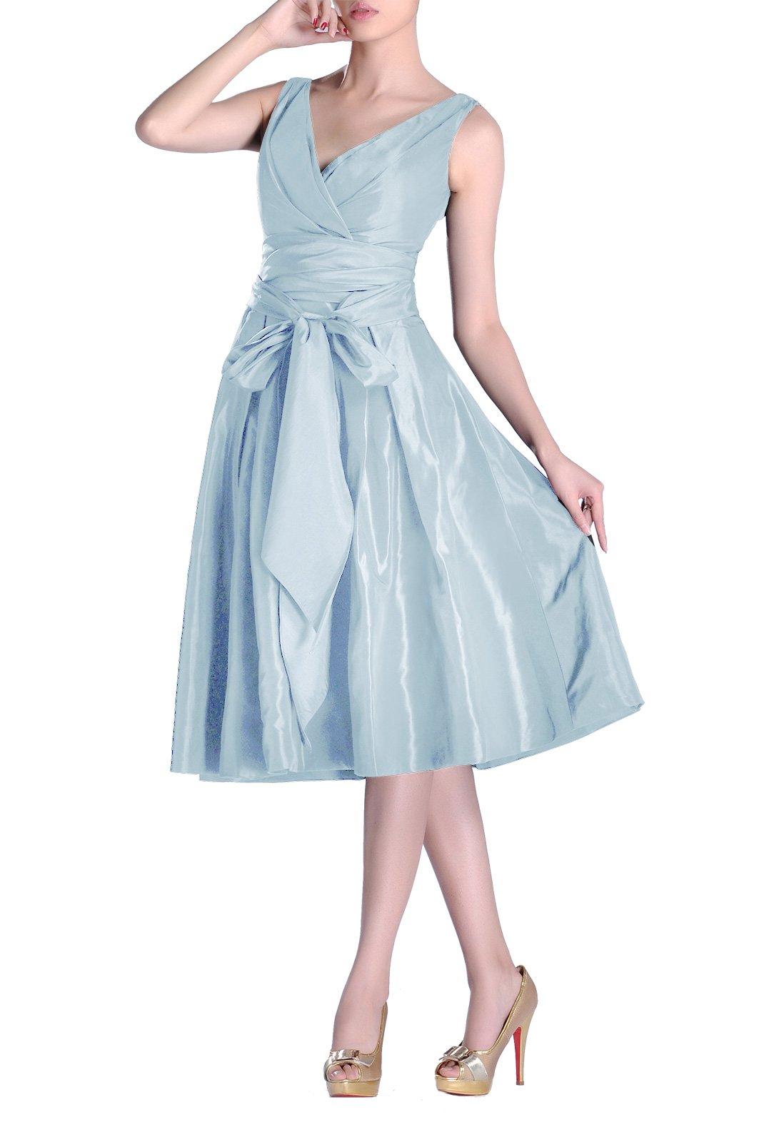 53209858c7e6 Adorona Formal Modest Bridesmaids A-line V-Neck Pleated Taffeta Tea Length Bridesmaid  Dress, Color Baby Blue,12
