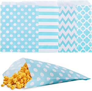 Biodegradable Paper Candy Cookie Bags, NUIBY Food Safe Favor Bags, Buffet Treat Bags for All Party Loot Bags - 100 Counts, Assorted 4 Designs (Turquoise)