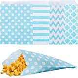 Biodegradable Paper Candy Cookie Bags, NUIBY Food Safe Favor Bags, Buffet Treat Bags for All Parties Loot Bags - 100 Counts, Assorted 4 Designs (Turquoise)