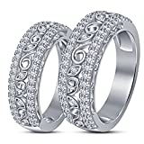 TVS-JEWELS Gold Plated 925 Sterling Silver White CZ Studded Inexpensive Couple Ring Set (white platinum plated)